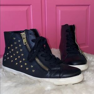 Black and Gold star studded high tops size 7